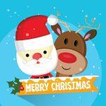 Online kort med julemanden og rensdyr